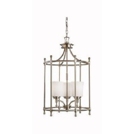 Kichler Brushed Nickel Wharton 3-Bulb Indoor Pendant With Cylindrical Glass Shade
