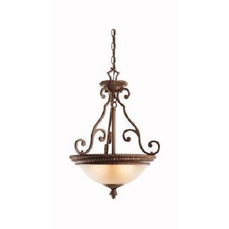 Kichler Bronze With Gold Larissa 3-Bulb Indoor Pendant With Bowl-Shaped Glass Shade
