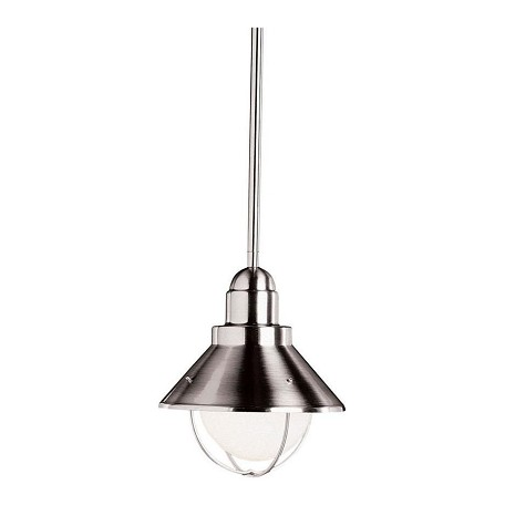Kichler Brushed Nickel Seaside Single-Bulb Outdoor Pendant With Cone-Shaped Metal Shade