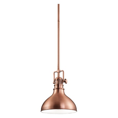 Kichler Antique Copper Hatteras Bay Mini Pendant With Metal Shade - 8In. Wide