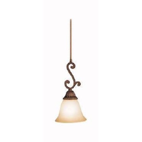 Kichler Bronze With Gold Larissa Single-Bulb Indoor Pendant With Bell-Shaped Glass Shade