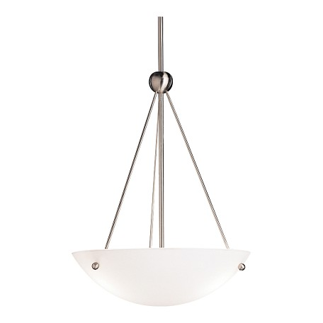 Kichler Brushed Nickel Family Space 3-Bulb Indoor Pendant With Bowl-Shaped Glass Shade