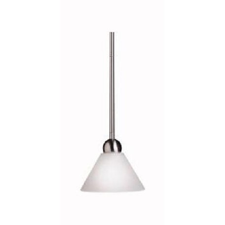 Kichler Nickel Swiss Passport Single-Bulb Indoor Pendant With Cone-Shaped Glass Shade