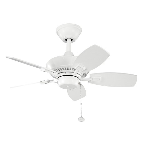 Kichler White 30In. Outdoor Ceiling Fan With 5 Blades