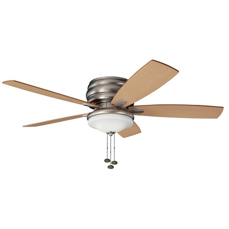 "Kichler Brushed Nickel Windham 52"" Outdoor Ceiling Fan With 5 Blades Includes Light Kit"