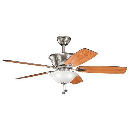 "Kichler Antique Pewter With Cherry Blades Tolkin 52"" Indoor Ceiling Fan With 5 Blades"