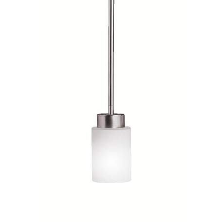 Kichler Brushed Nickel Modena Single-Bulb Indoor Pendant With Cylindrical Glass Shade