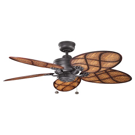 Kichler Distressed Black Crystal Bay 52In. Outdoor Ceiling Fan - Includes 4In. Downrod