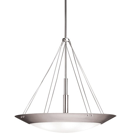 Kichler Brushed Nickel Structures 6-Bulb Indoor Pendant With Bowl-Shaped Glass Shade