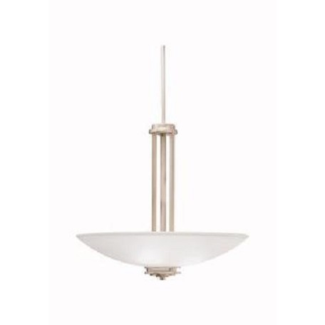 Kichler Brushed Nickel Hendrik 3 Light 24In. Wide Pendant With Satin Etched Glass Shades