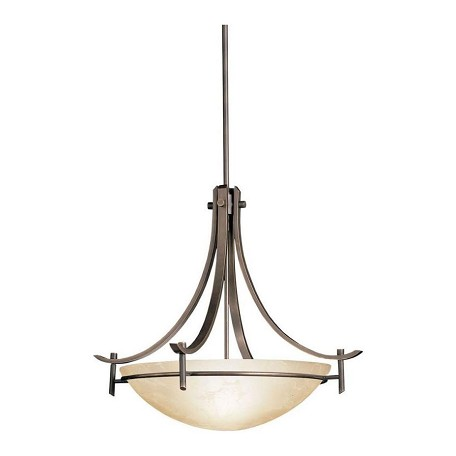 Kichler Olde Bronze 3-Bulb Indoor Pendant With Bowl-Shaped Glass Shade