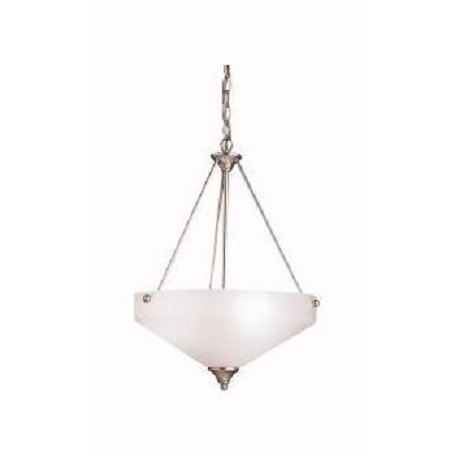 Kichler Brushed Nickel Ansonia 3-Bulb Indoor Pendant With Bowl-Shaped Glass Shade