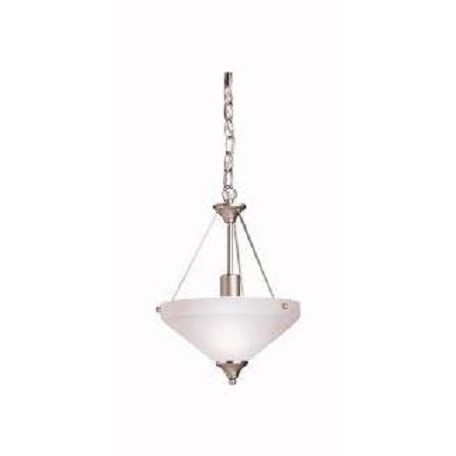 Kichler Brushed Nickel Ansonia Single-Bulb Indoor Pendant With Bowl-Shaped Glass Shade