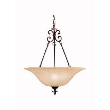 Kichler Carre Bronze Wilton 3-Bulb Indoor Pendant With Bowl-Shaped Glass Shade