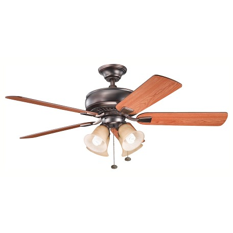 "Kichler Oil Brushed Bronze Saxon Premier 52"" Indoor Ceiling Fan With 5 Blades"