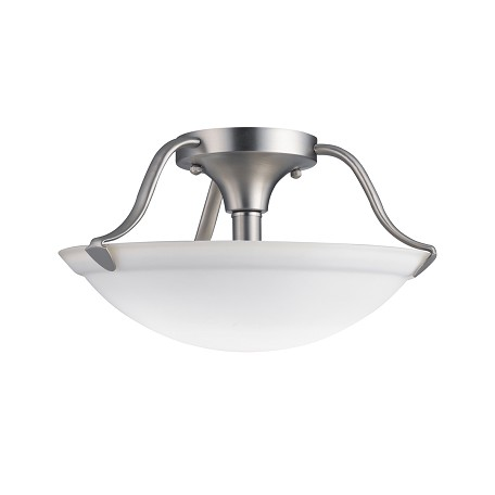 Kichler Brushed Nickel 2 Light 13In. Wide Semi-Flush Ceiling Fixture