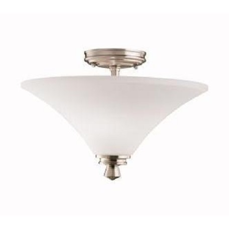 Kichler Kichler 3719Ni Brushed Nickel Wharton 2 Light Semi-Flush Indoor Ceiling Fixture