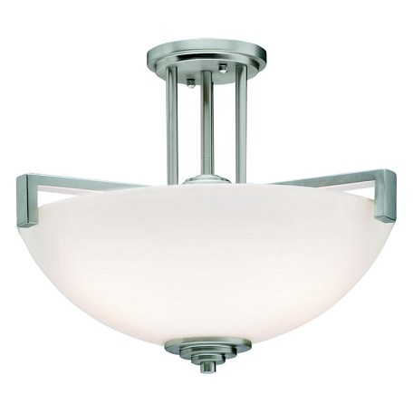 Kichler Brushed Nickel Eileen 3 Light Semi-Flush Indoor Ceiling Fixture