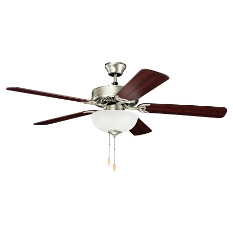 "Kichler Brushed Nickel Basics Select 52"" Ceiling Fan - Blades Light And Downrod Included"