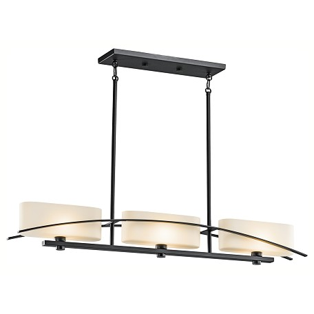 Kichler Black (Painted) Suspension Single-Tier Linear Chandelier With 3 Lights
