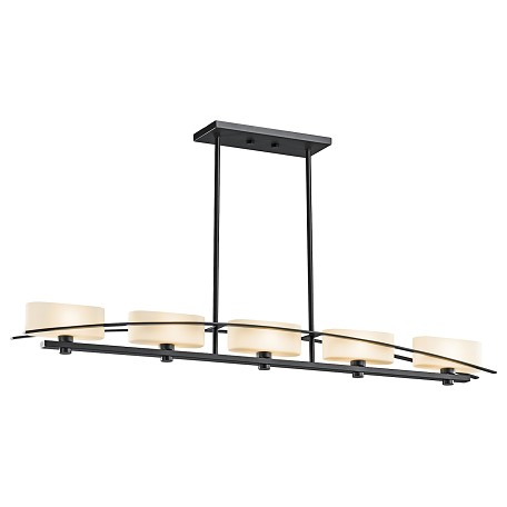 Kichler Black (Painted) Suspension Single-Tier Linear Chandelier With 5 Lights