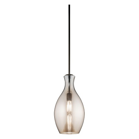 Kichler Olde Bronze Everly Singlebulb Indoor Pendant With Champagne Teardrop Glass Shade