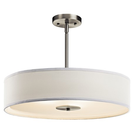 Kichler Nickel 3-Bulb Indoor Pendant Or Semi-Flush Light With Drum-Shaped Fabric Shade