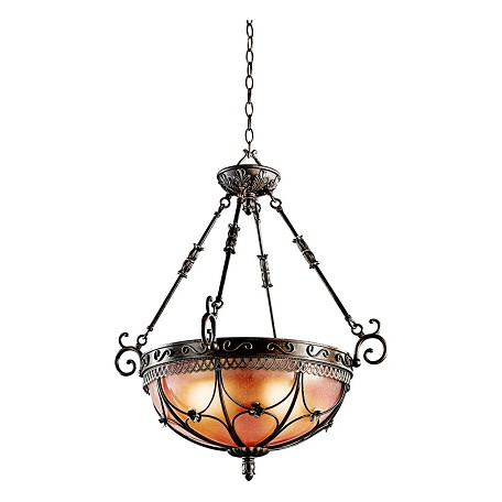 Kichler Terrene Bronze Marchesa 3-Bulb Indoor Pendant With Bowl-Shaped Glass Shade