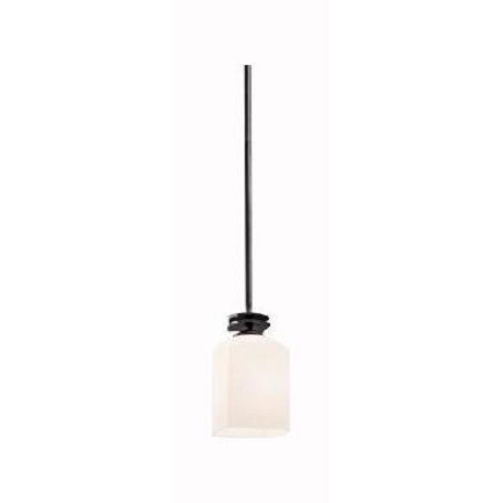 Kichler Anvil Iron Brinbourne Single-Bulb Indoor Pendant With Rectangular Glass Shade