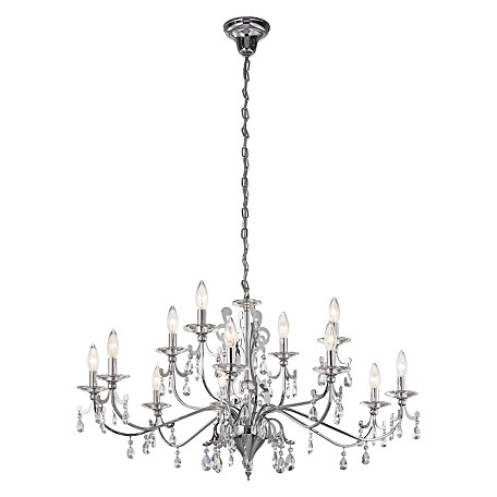 Kichler Kichler 42340Ch Chrome Rizzo 2-Tier Candle-Style Chandelier With 12 Lights