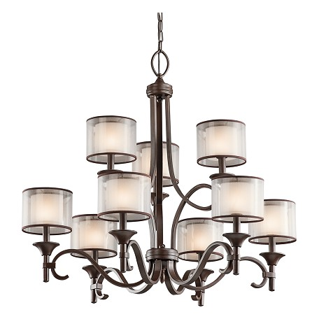 Kichler Nine Light Mission Bronze Up Chandelier