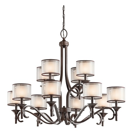 Kichler Twelve Light Mission Bronze Up Chandelier