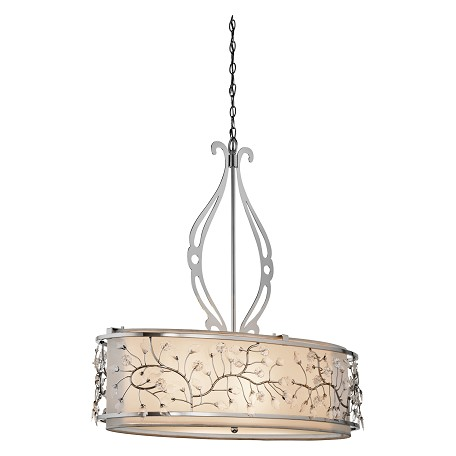 Kichler Kichler 42393Ch Chrome Jardine 4-Bulb Indoor Pendant With Oval Glass Shade