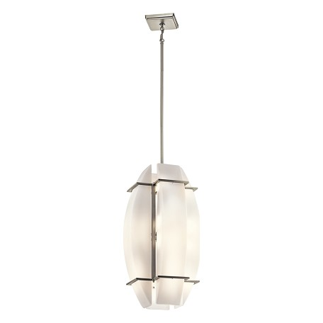 Kichler Brushed Nickel Crescent View 16-Bulb Indoor Pendant With Customized Glass Shade