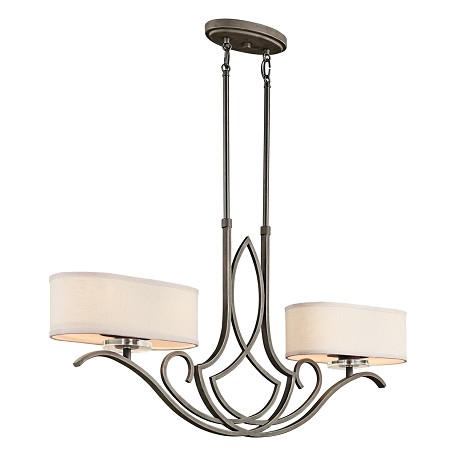 Kichler Olde Bronze Leighton Single-Tier Linear Chandelier With 4 Lights