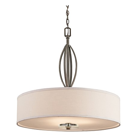 Kichler Olde Bronze Leighton 3-Bulb Indoor Pendant With Drum-Shaped Fabric Shade