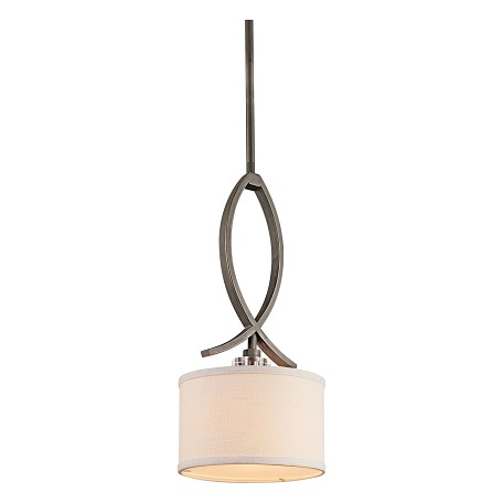 Kichler Olde Bronze Leighton Single-Bulb Indoor Pendant With Drum-Shaped Fabric Shade