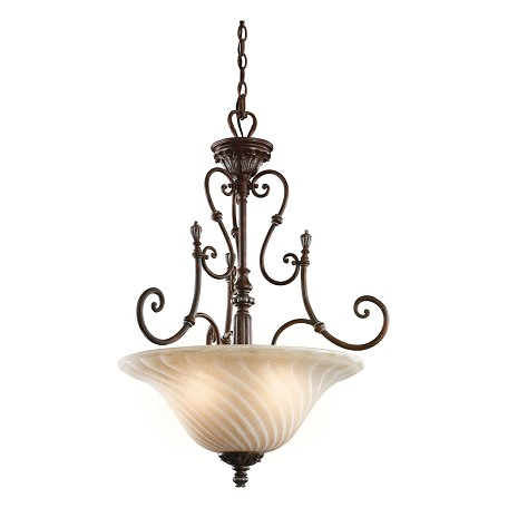 Kichler Legacy Bronze Sarabella 3-Bulb Indoor Pendant With Bowl-Shaped Glass Shade