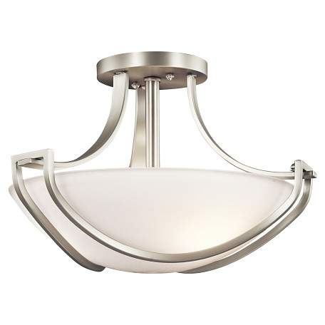 Kichler Kichler 42651Ni Brushed Nickel Owego 3 Light Semi-Flush Indoor Ceiling Fixture