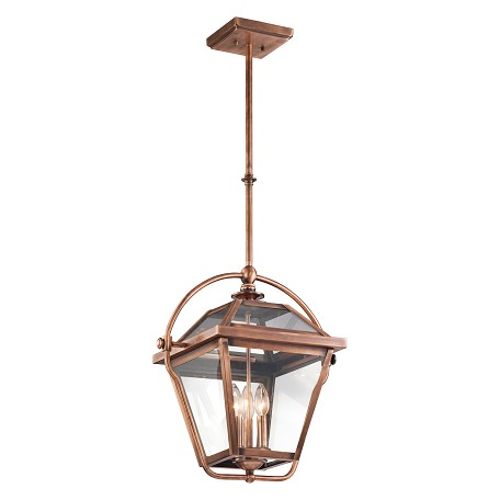 Kichler Antique Copper Ryegate 3-Bulb Indoor Pendant With Lantern-Style Glass Shade