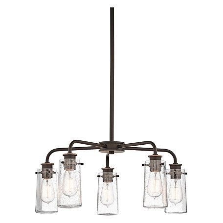 Kichler Olde Bronze Braelyn 5 Light 25In. Wide Chandelier With Seedy Glass Shades