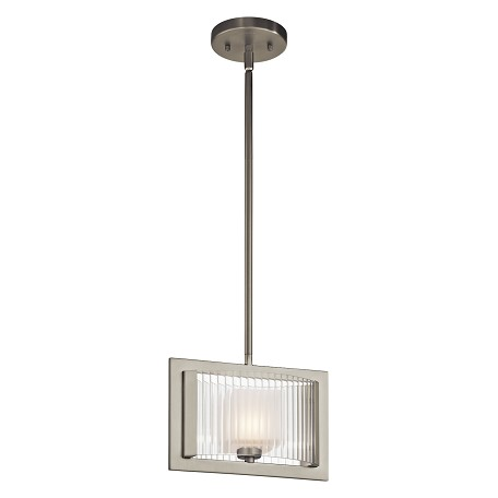 Kichler Brushed Nickel Rigate 3-Bulb Indoor Pendant With Rectangular Glass Shade