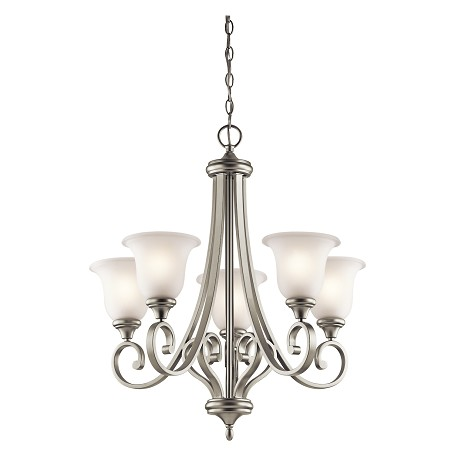 Kichler Brushed Nickel Monroe 5 Light 28In. Wide Chandelier With Etched Glass Shades