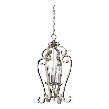 Kichler Brushed Nickel Monroe Foyer Chandelier With 4 Lights - 15In. Wide