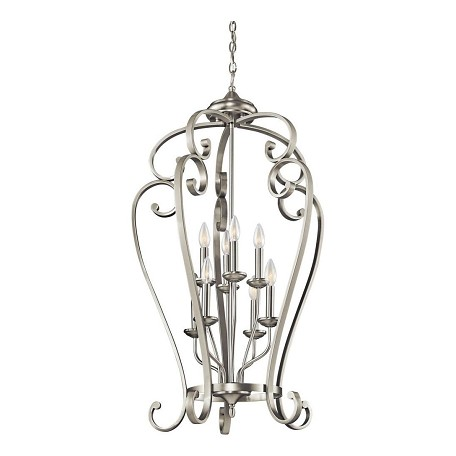 Kichler Brushed Nickel Monroe Foyer Chandelier With 8 Lights - 23In. Wide