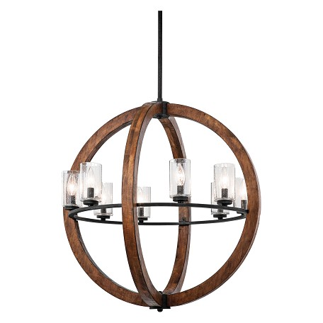 Kichler Auburn Grand Bank 8 Light 28In. Wide Chandelier With Seedy Glass Shades