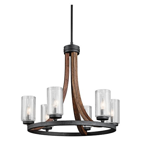 Kichler Auburn Stained Grand Bank 6 Light 25In. Wide Chandelier With Seedy Glass Shades