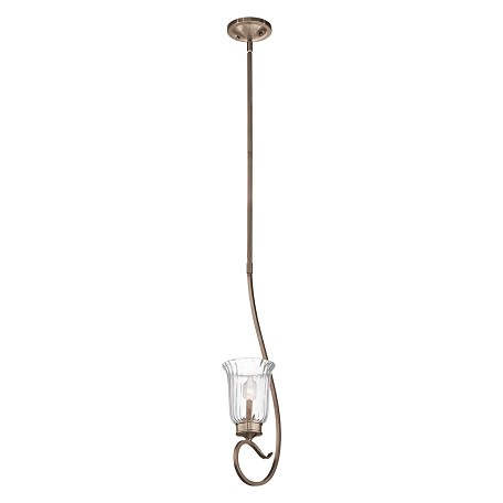 Kichler Brushed Silver And Gold 3-Bulb Indoor Pendant With Bell-Shaped Glass Shade