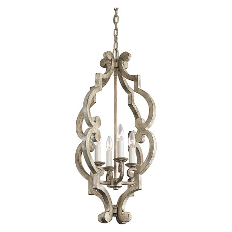 Kichler Distressed Antique White Hayman Bay Single-Tier Mini Chandelier With 4 Lights