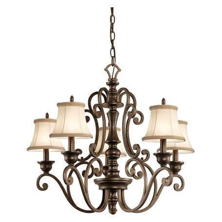 Kichler Terrene Bronze Mithras Single-Tier Candle-Style Chandelier With 5 Lights